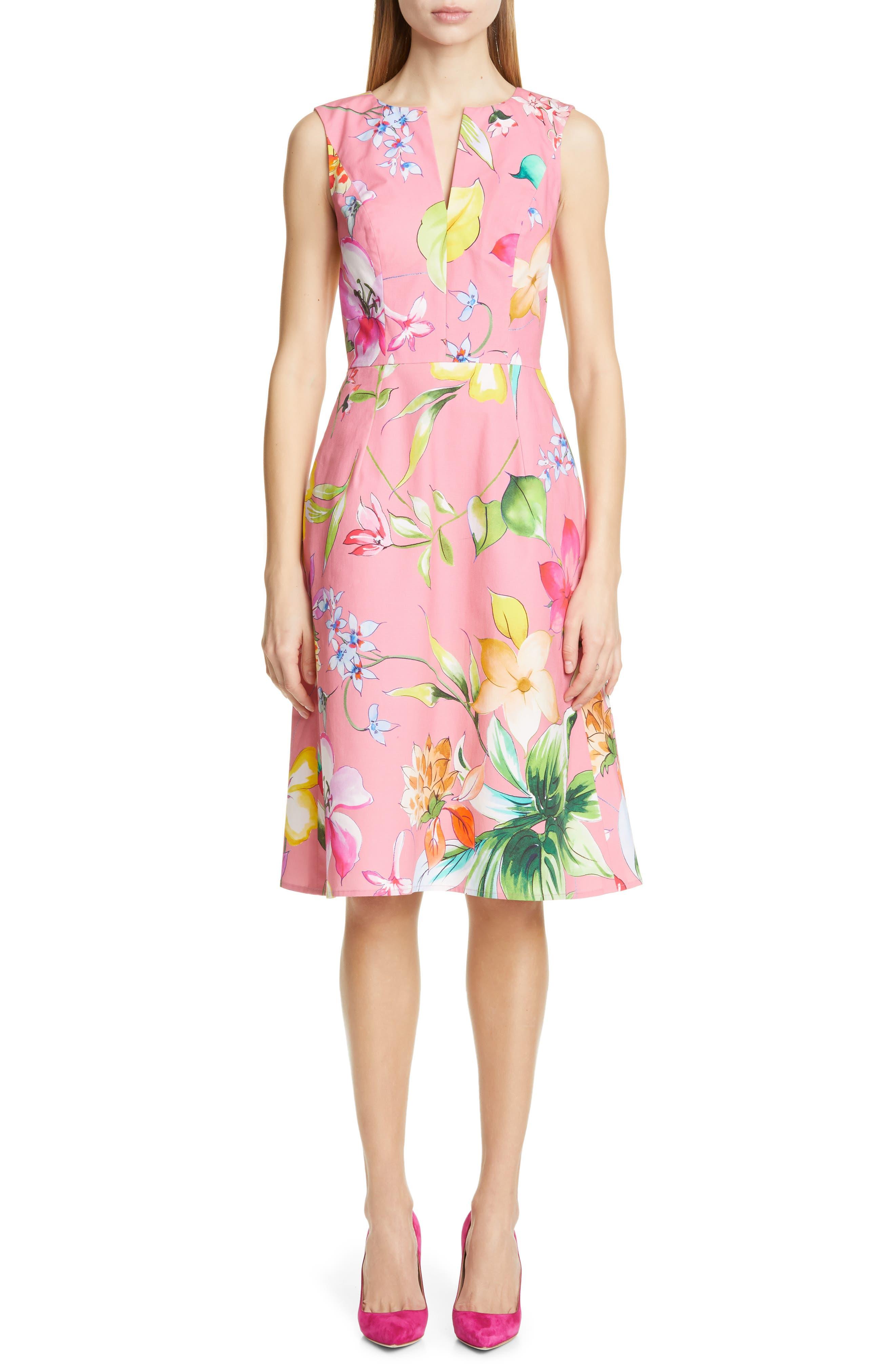 Carolina Herrera Floral Cocktail Dress