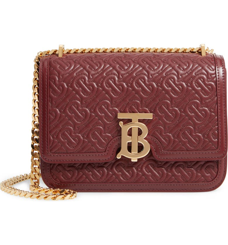 BURBERRY Small TB Quilted Monogram Leather Bag, Main, color, OXBLOOD