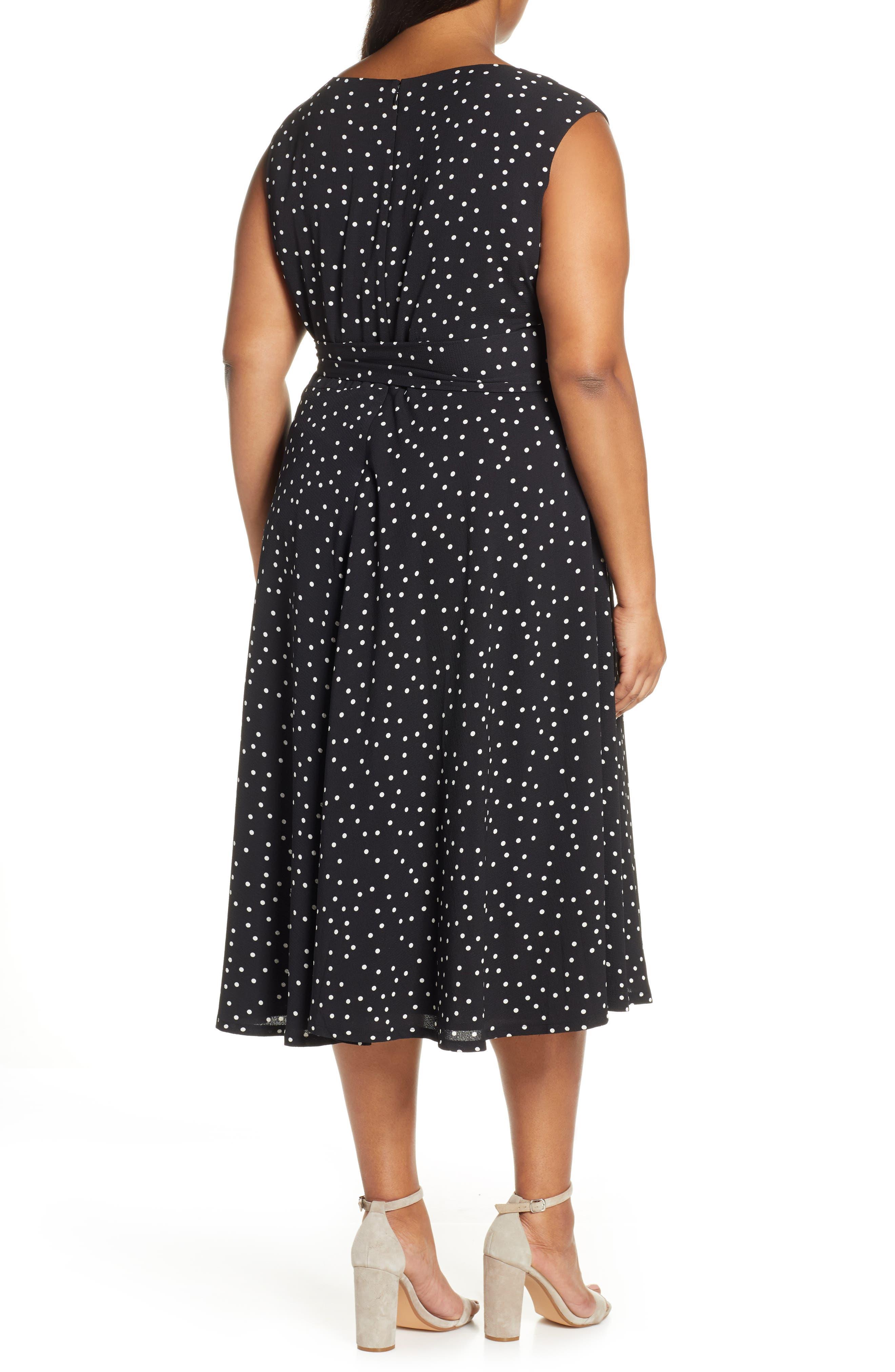 ,                             Polka Dot Fit & Flare Midi Dress,                             Alternate thumbnail 2, color,                             002