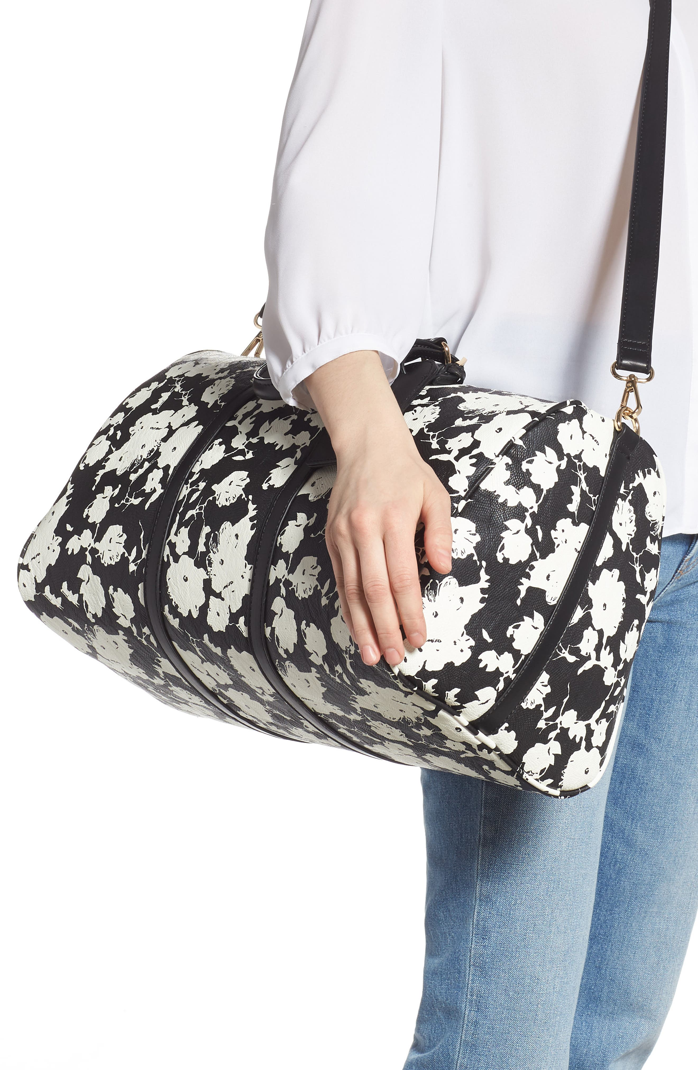 ,                             Cassidy Faux Leather Duffle Bag,                             Alternate thumbnail 2, color,                             BLACK FLORAL