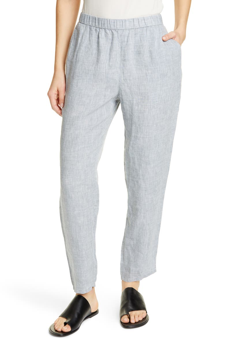 EILEEN FISHER Organic Linen Ankle Pants, Main, color, CHAMBRAY