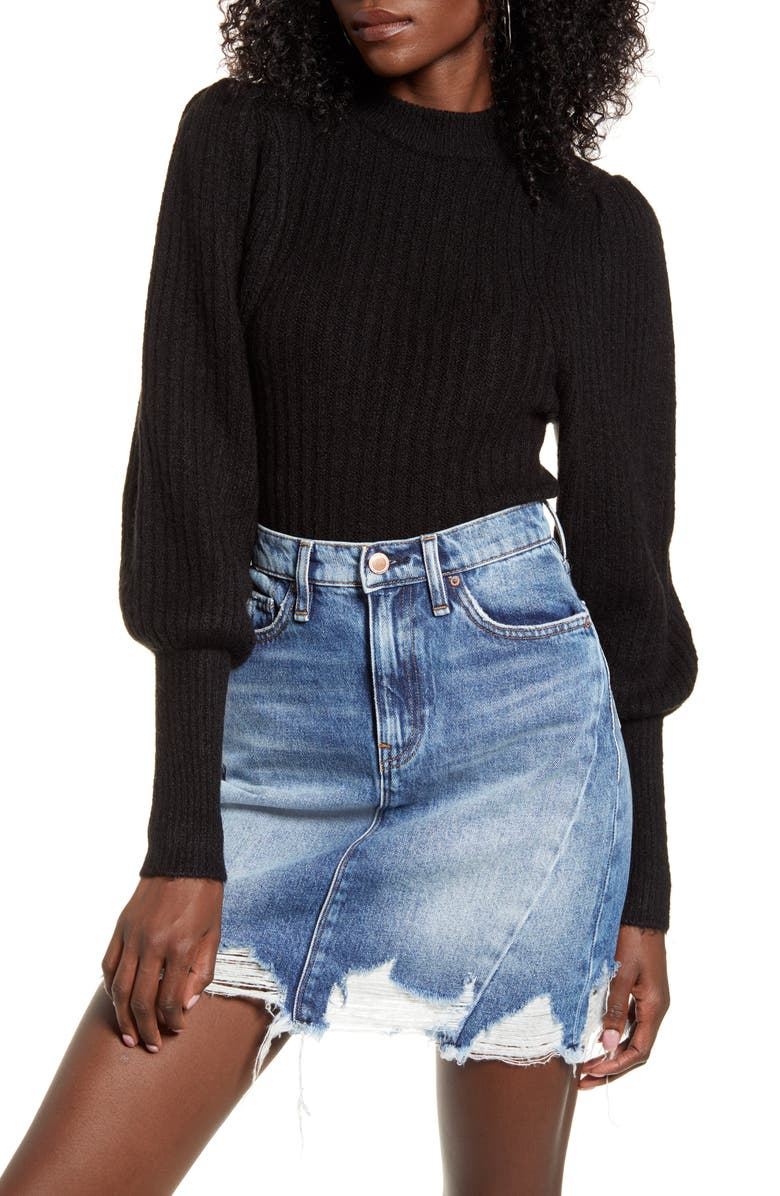 LEITH Juliet Sleeve Sweater, Main, color, BLACK