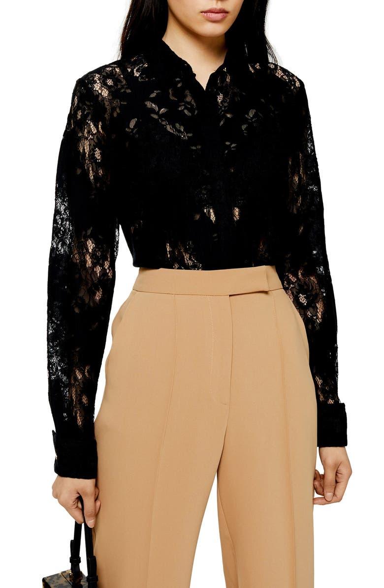 TOPSHOP Burnout Lace Shirt, Main, color, BLACK