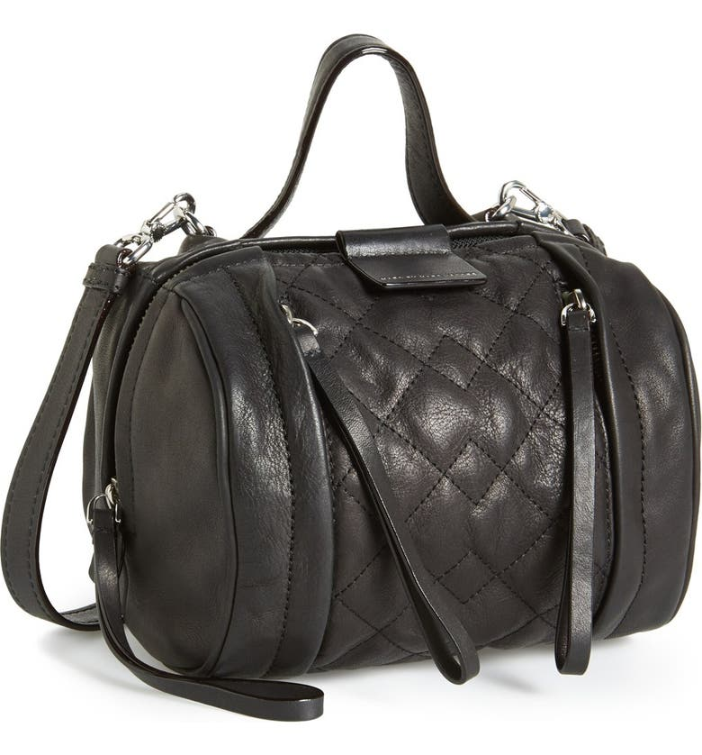 MARC JACOBS MARC BY MARC JACOBS 'Small Moto Barrel' Quilted Leather Satchel, Main, color, 001