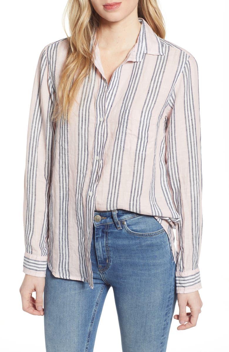 GRAYSON The Hero Stripe Tumbled Linen Shirt, Main, color, BETTY PINK MULTI STRIPE