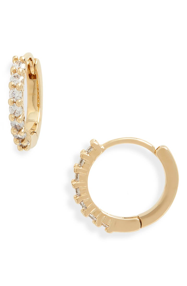 NORDSTROM Crystal Huggie Hoop Earrings, Main, color, CLEAR- GOLD