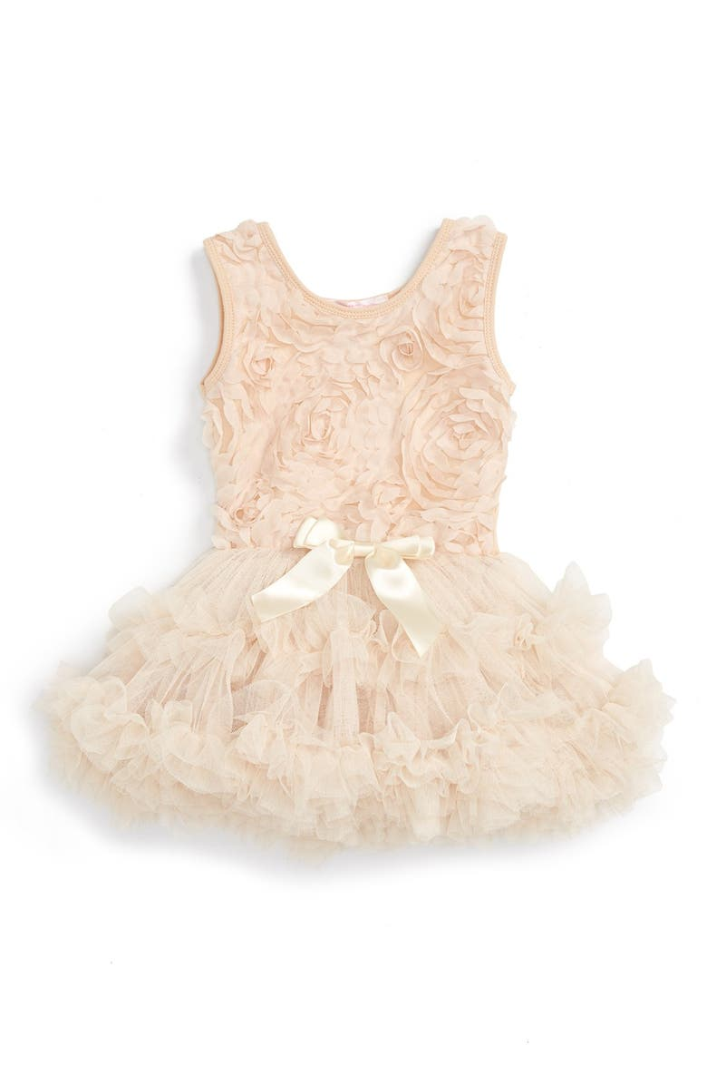 POPATU Ribbon Rosette Tutu Dress, Main, color, CHAMPAGNE