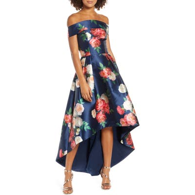 Chi Chi London Kerris Floral Off The Shoulder High/low Satin Gown, Blue