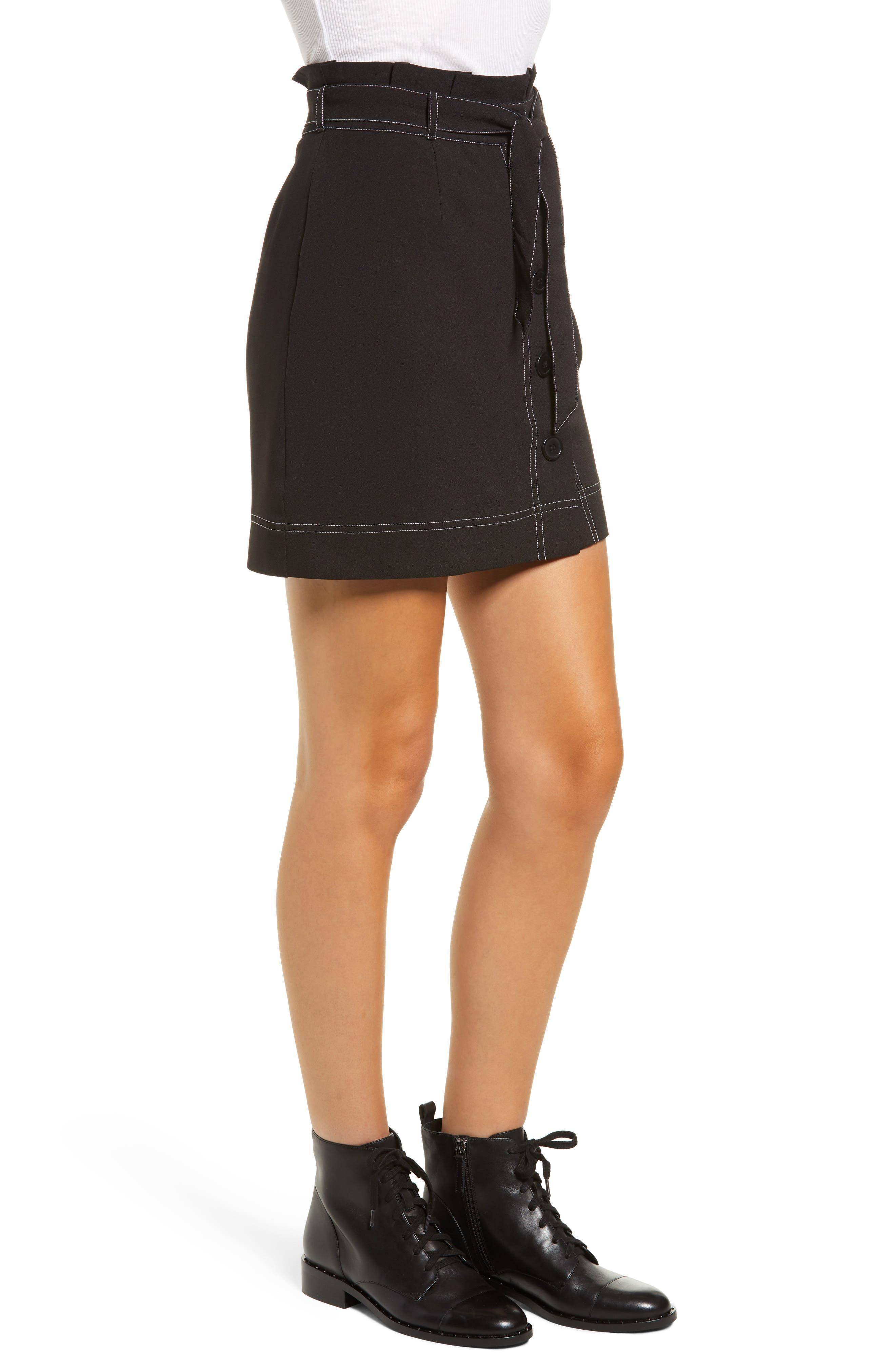 ,                             Button Front Skirt,                             Alternate thumbnail 3, color,                             BLACK