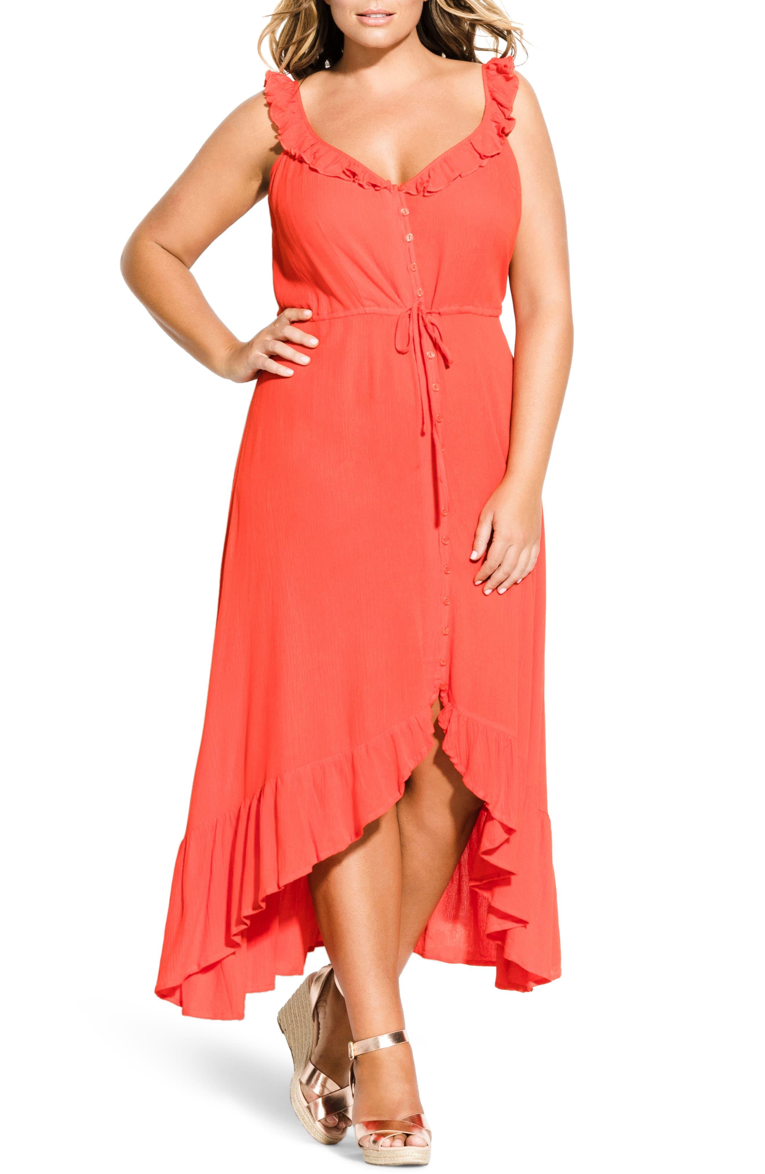 Plus Size City Chic Ruffle Trim Maxi Dress, Red
