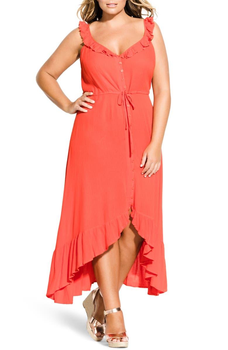 CITY CHIC Ruffle Trim Maxi Dress, Main, color, TIGERLILLY