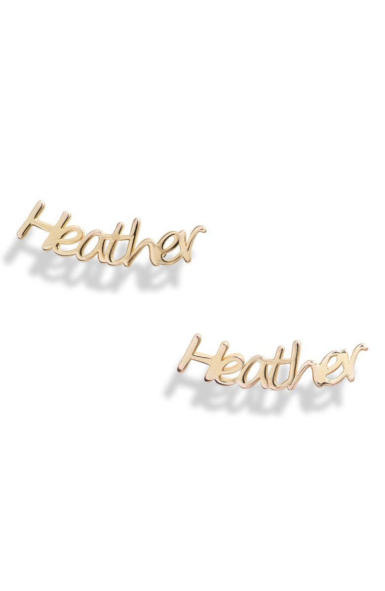 ARGENTO VIVO Personalized Nameplate Earrings, Main, color, GOLD