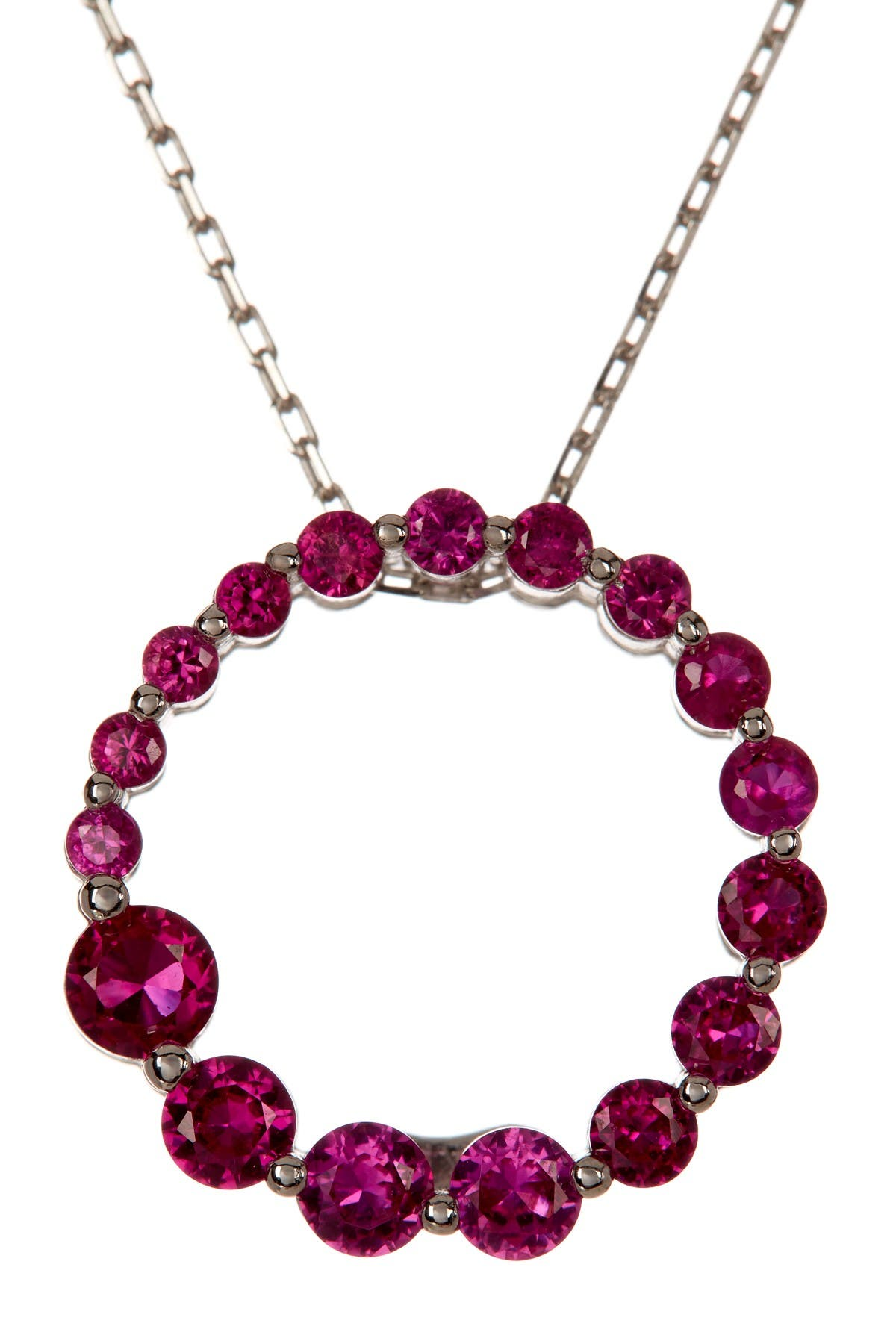 Image of Suzy Levian Sterling Silver Created Ruby Red Journey Pendant