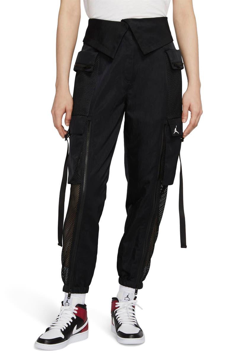 JORDAN Utility Mesh Trim Nylon Foldover Pants, Main, color, 010