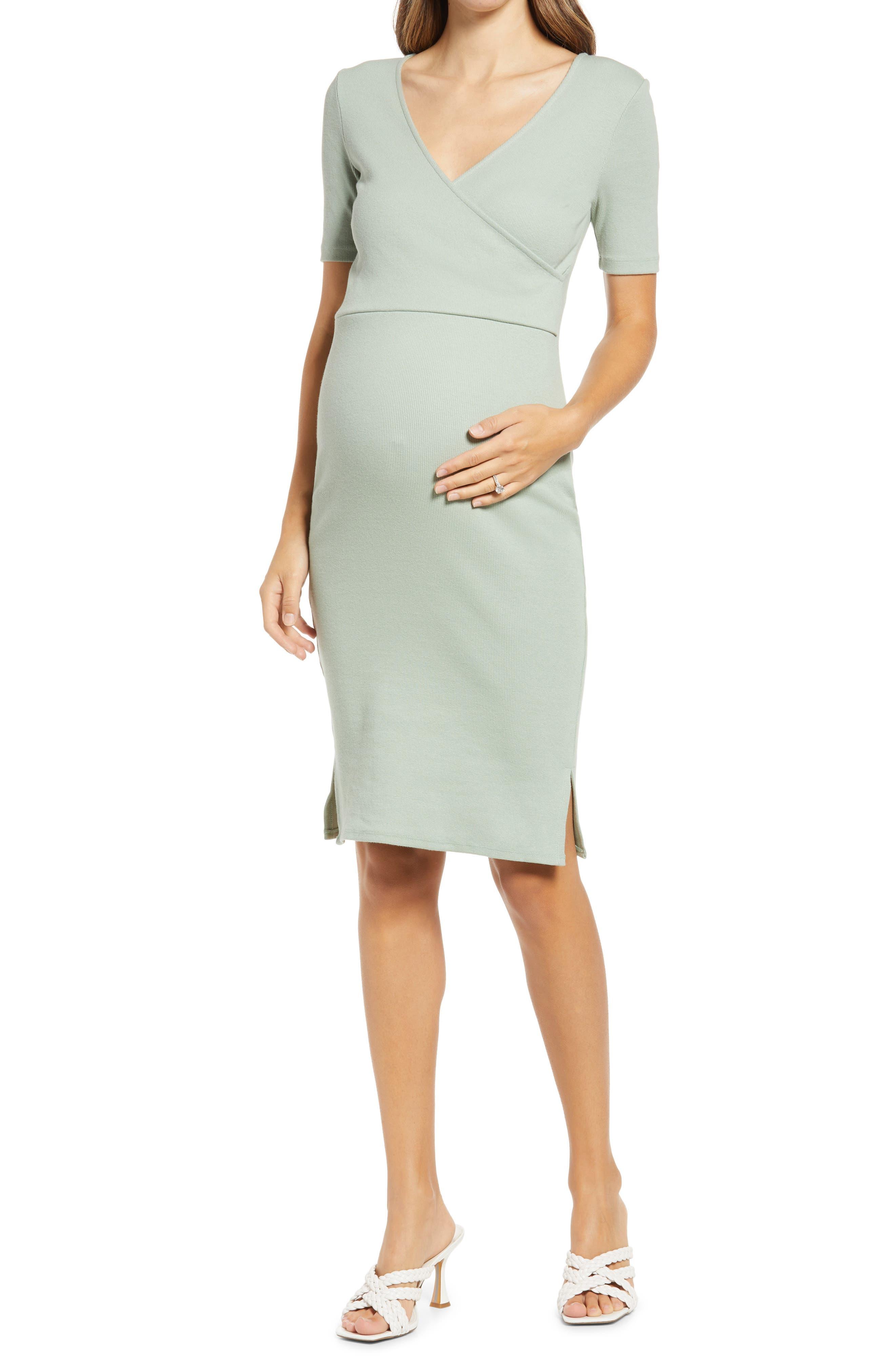Ella Rib Maternity/nursing Sheath Dress