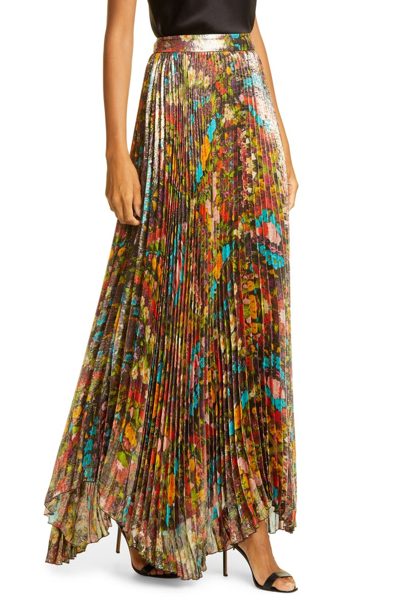 ALICE + OLIVIA Katz Sunburst Pleated Maxi Skirt, Main, color, KALEIDOSCOPE FLORAL