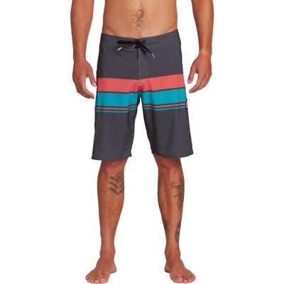 Volcom Lido Liney Stripe Board Shorts, Black