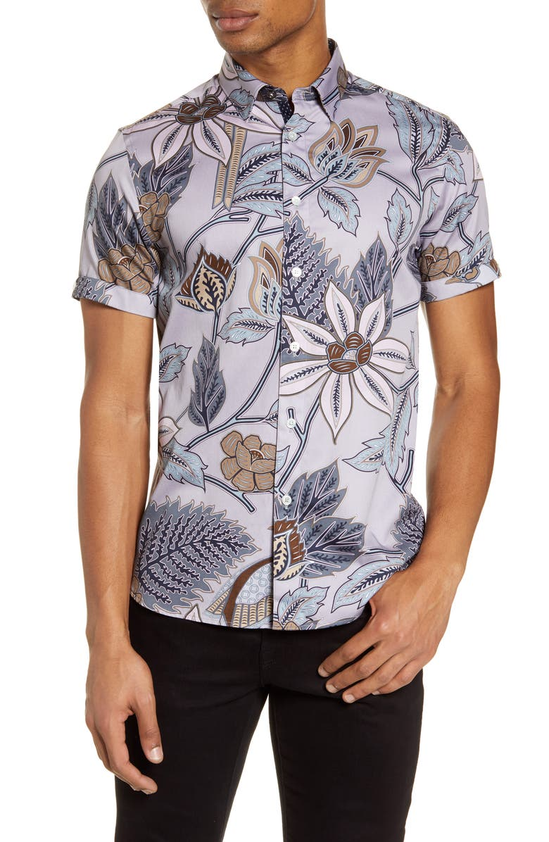 TED BAKER LONDON Canwe Slim Fit Floral Short Sleeve Button-Up Shirt, Main, color, NATURAL