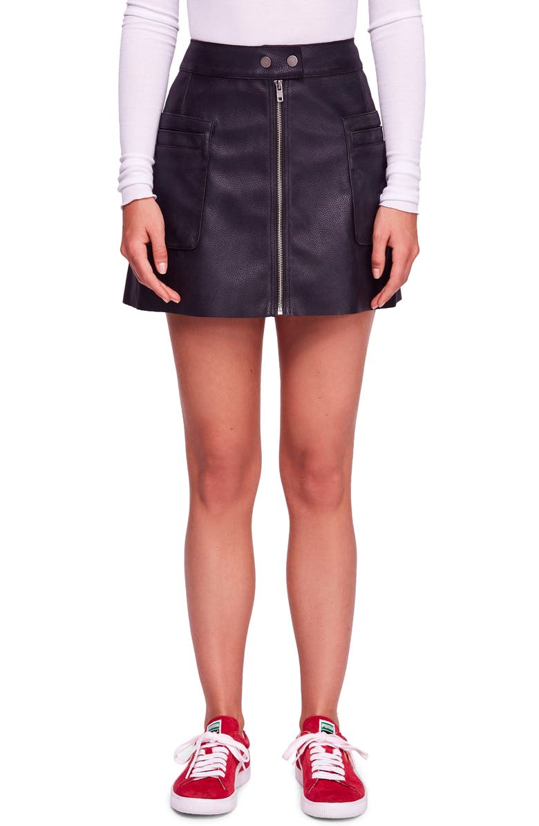 FREE PEOPLE High A-Line Faux Leather Miniskirt, Main, color, BLACK