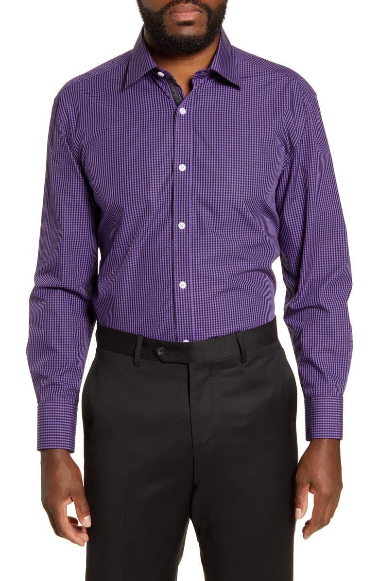 ENGLISH LAUNDRY Regular Fit Check Dress Shirt, Main, color, PURPLE