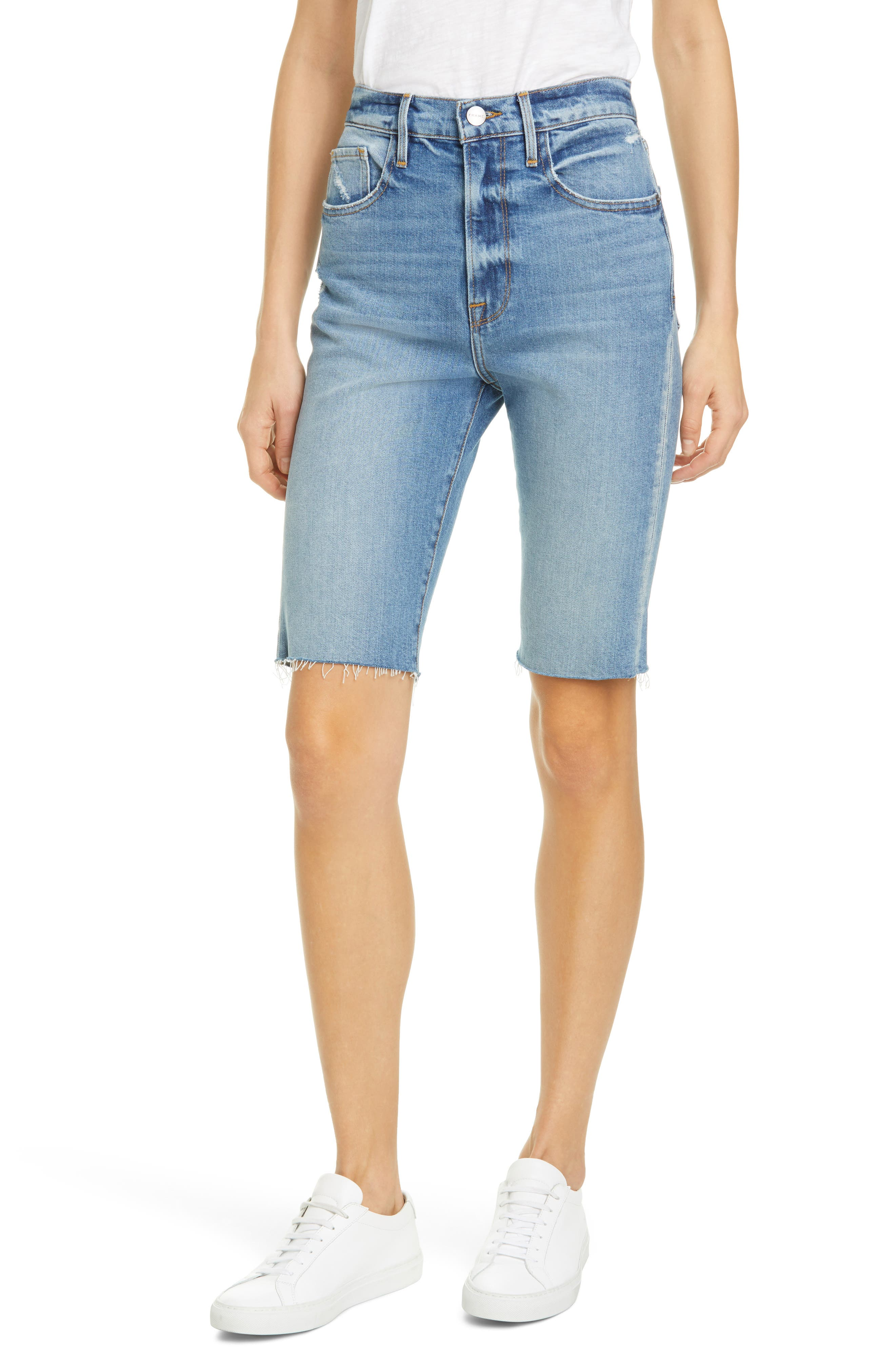 Women's Frame Le Cutoff Bermuda Shorts,  32 - Blue