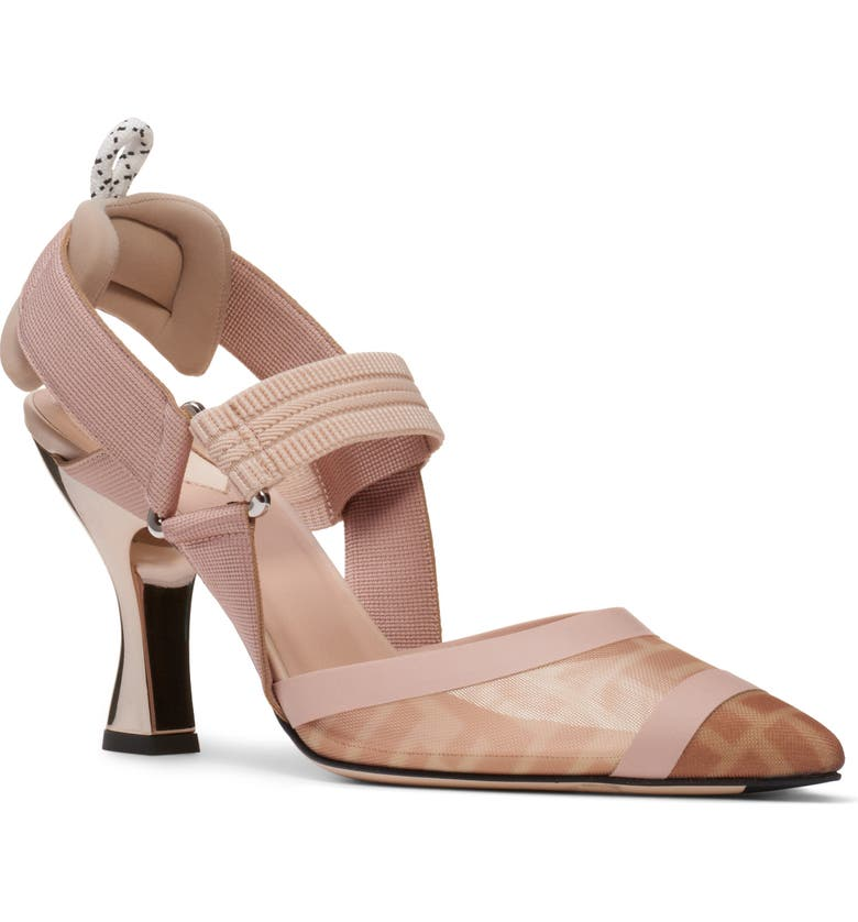 FENDI Colibri Mesh Slingback Pump, Main, color, NUDE