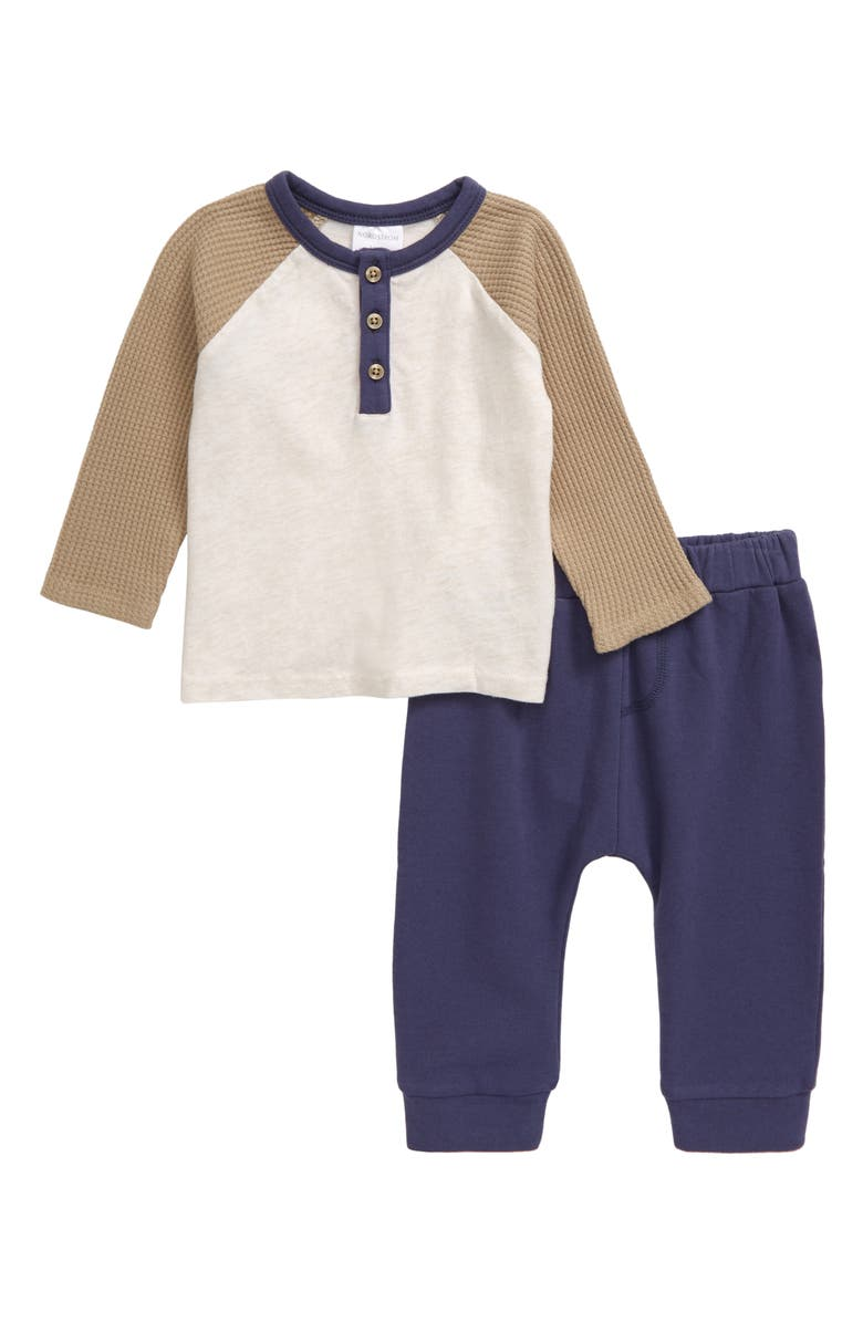 NORDSTROM BABY Henley Shirt & Sweatpants Set, Main, color, IVORY VANILLA HEATHER- NAVY