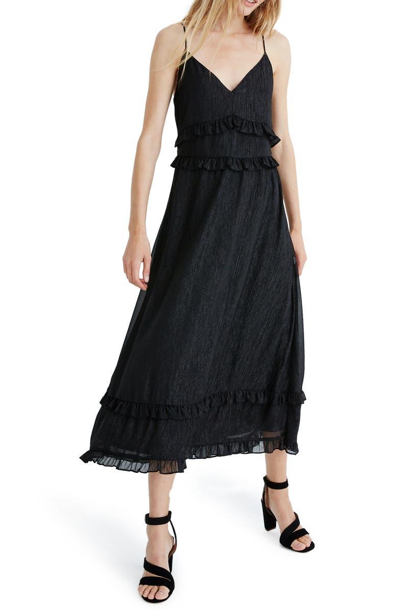 MADEWELL Shimmer Ruffle Cami Dress, Main, color, TRUE BLACK