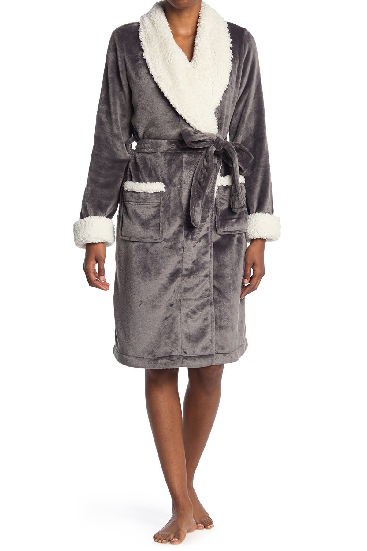 Image of shimera FUR lined mid length robe