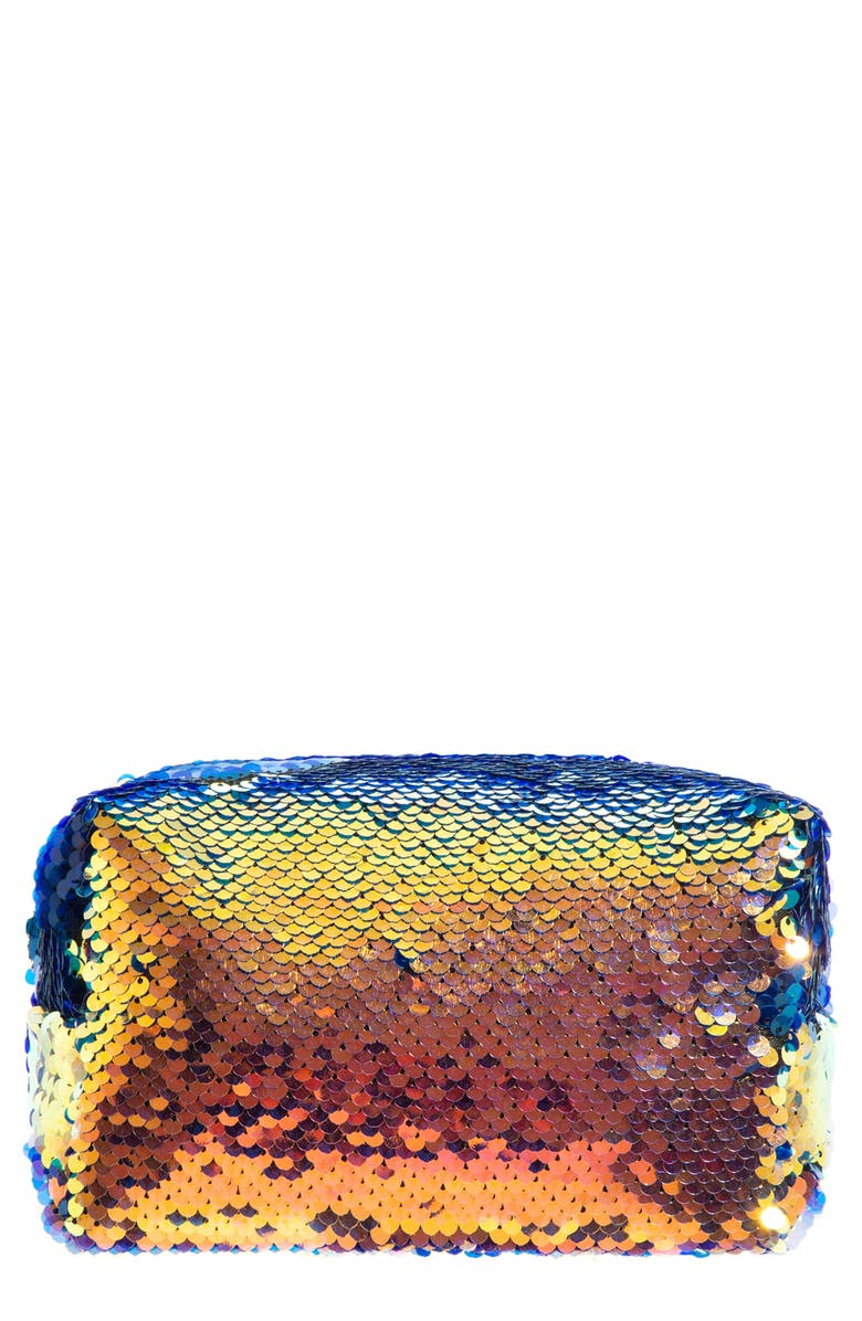 SKINNYDIP Sassy Sequin Makeup Bag, Main, color, NO COLOR