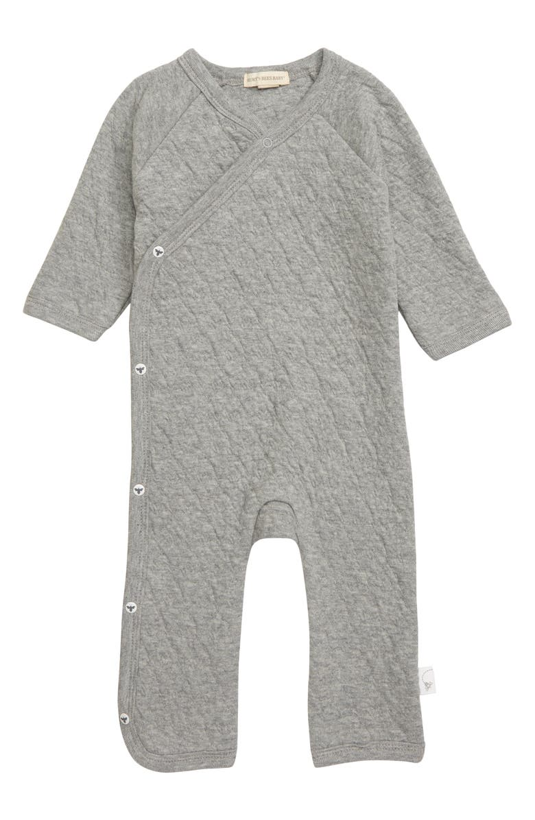 BURT'S BEES BABY Quilted Organic Cotton Romper, Main, color, 021