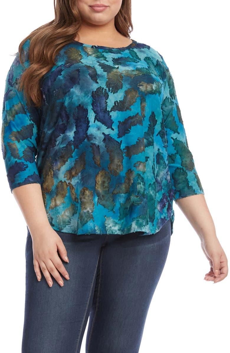 KAREN KANE Tie Dye Burnout Shirttail Top, Main, color, T/ D