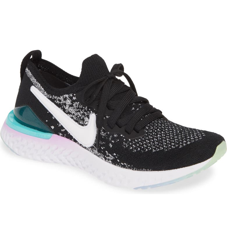 NIKE Epic React Flyknit 2 Running Shoe, Main, color, BLACK/ WHITE-CORAL-JADE