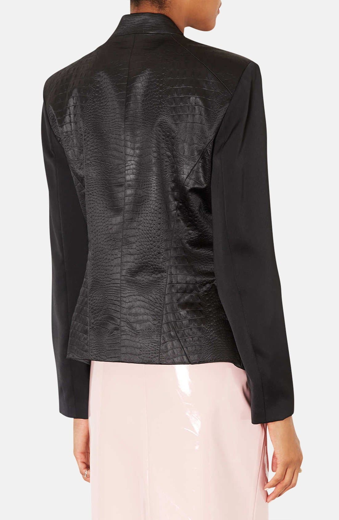 ,                             Embossed Faux Leather Blazer,                             Alternate thumbnail 2, color,                             001