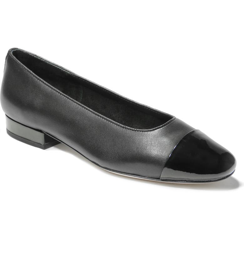 VANELI Cap Toe Flat, Main, color, BLACK NAPPA/ PATENT LEATHER