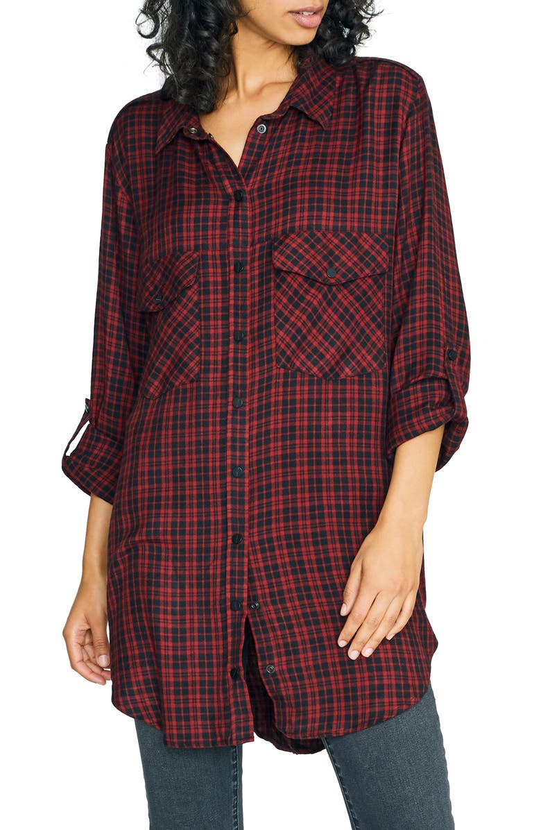 SANCTUARY Main St. Boyfriend Tunic Top, Main, color, NEW GENERATION PLAID