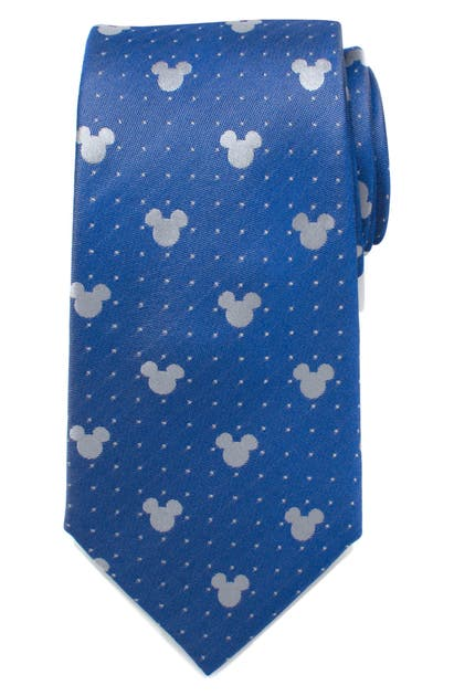 Cufflinks, Inc Mickey Mouse Pin Dot Silk Tie In Blue/ Grey