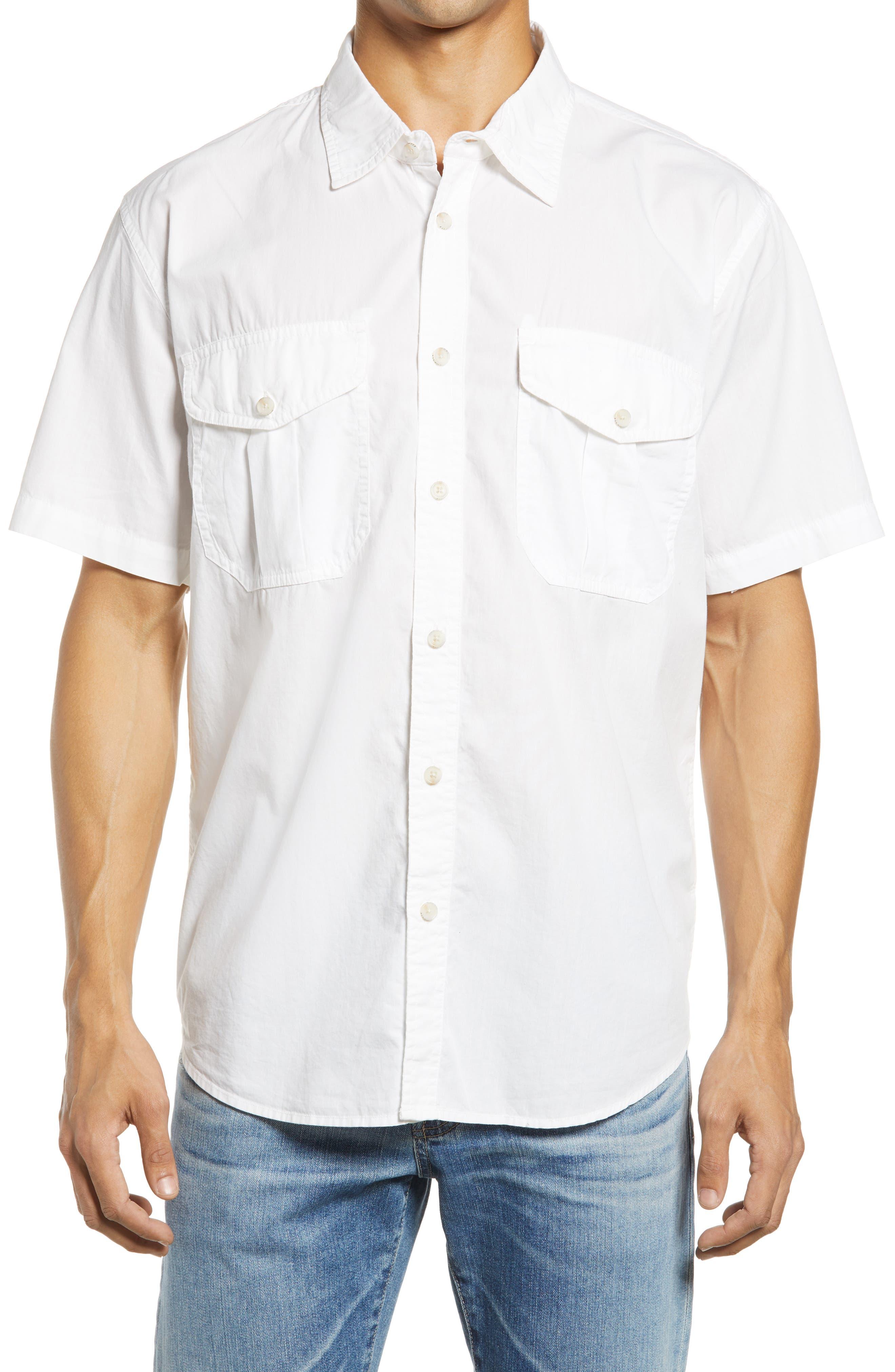 Men's Feather Cloth Short Sleeve Button-Up Shirt