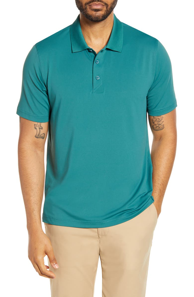 CUTTER & BUCK Forge DryTec Classic Fit Solid Performance Polo, Main, color, SEAWEED