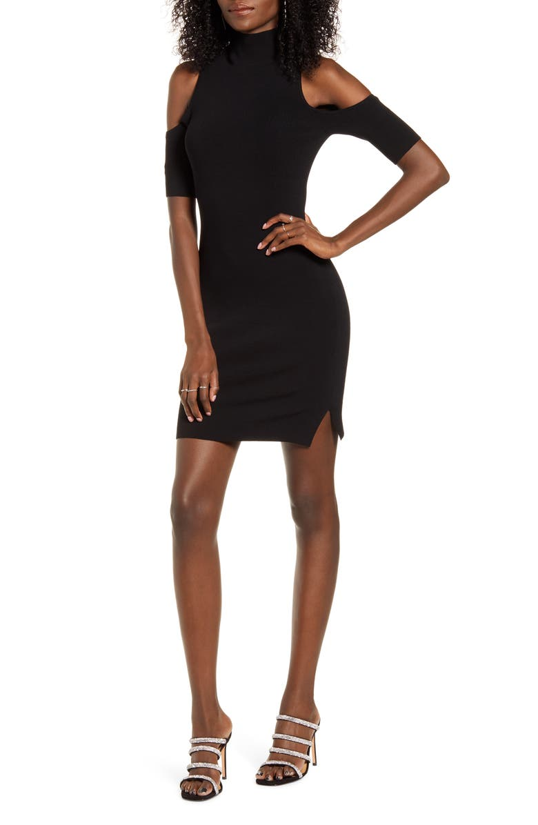 LEITH Cutout Minidress, Main, color, BLACK