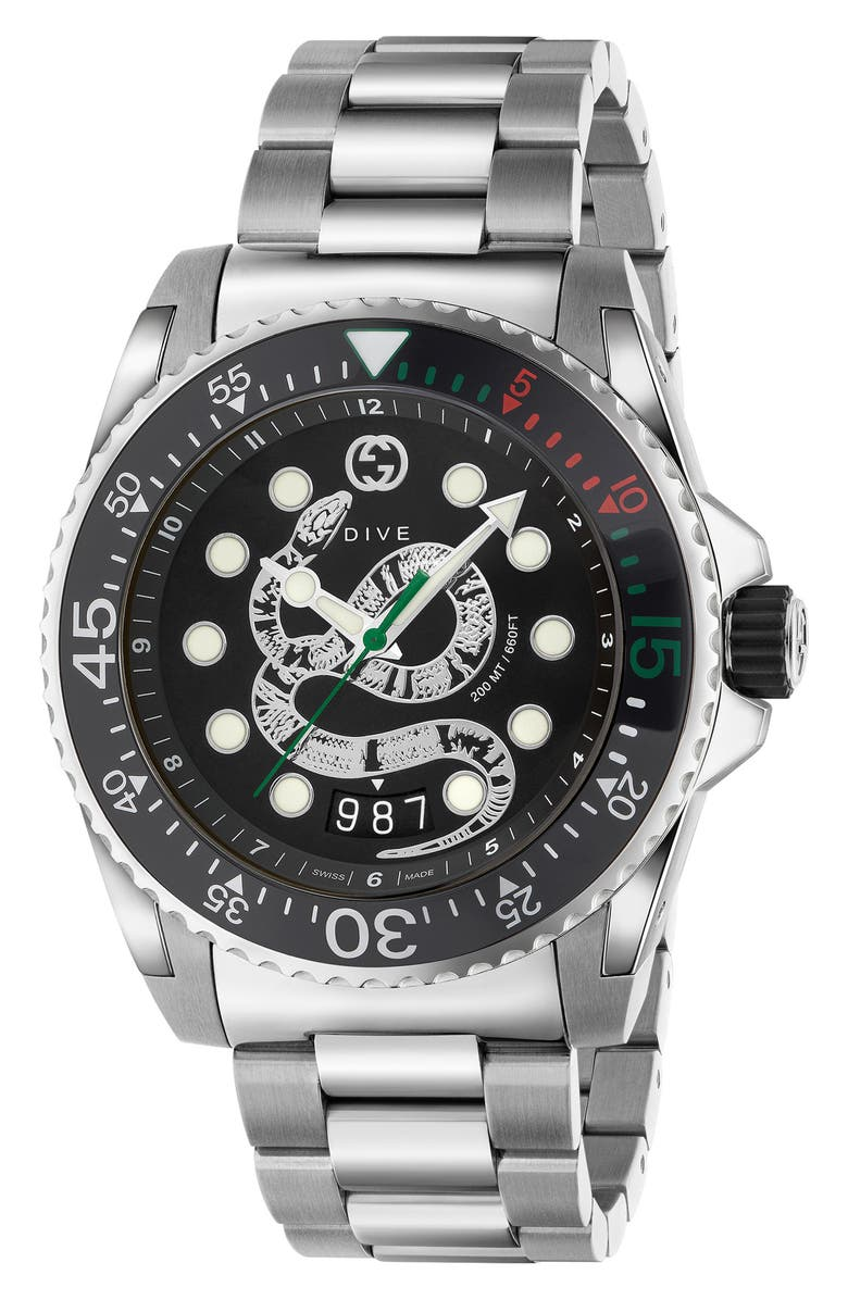 GUCCI Dive Snake Watch, 45mm, Main, color, SILVER/ BLACK/ SILVER