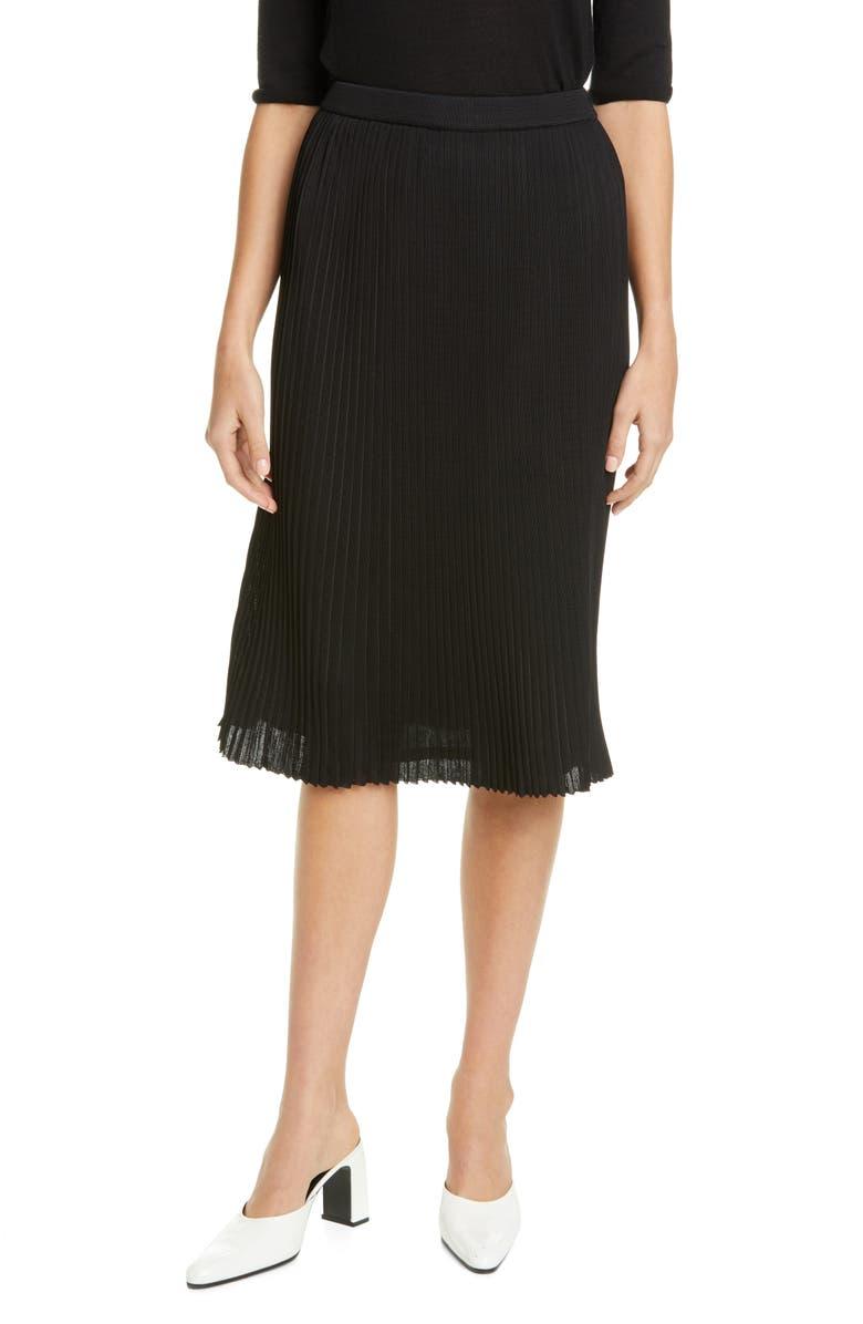 ST. JOHN COLLECTION Fluid Viscose Plissé Knit Skirt, Main, color, CAVIAR