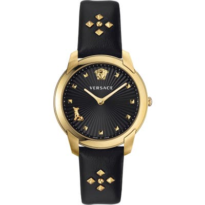 Versace Audrey V Leather Strap Watch,