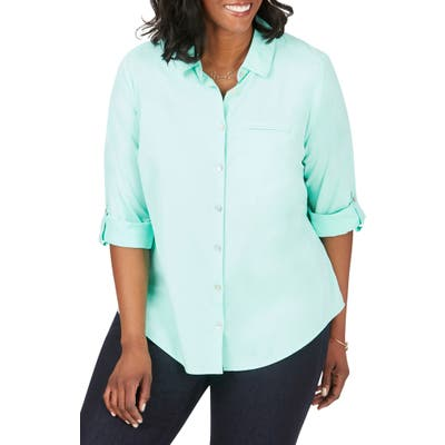 Plus Size Foxcroft Reese Solid Upf Wrinkle Free Shirt, Green