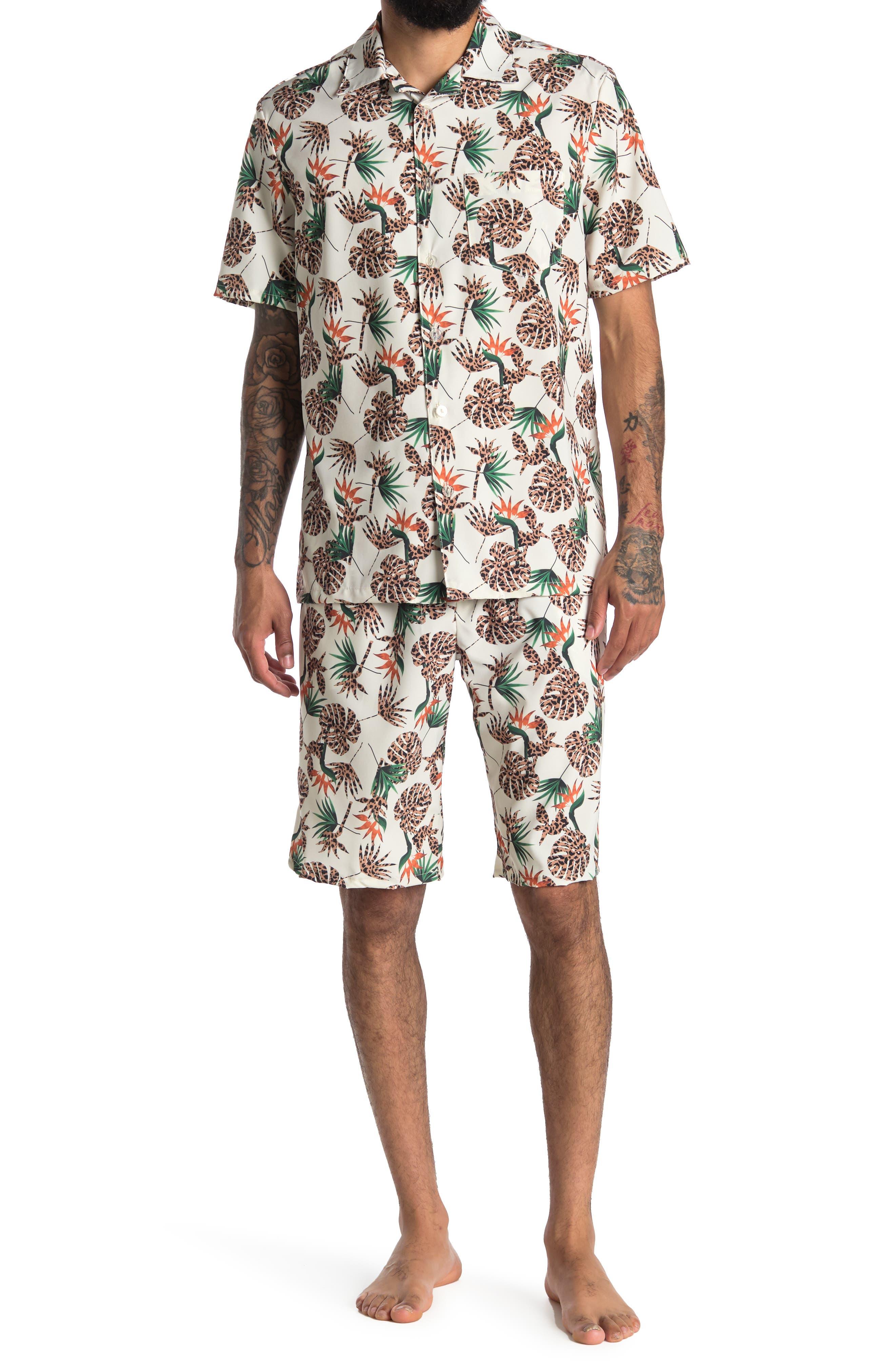 Image of COZY ROZY Tropicana Shirt & Shorts 2-Piece Set