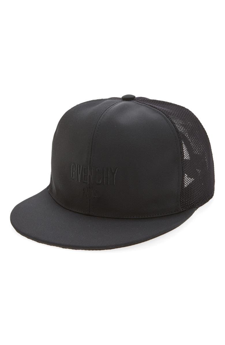 GIVENCHY Stars Mesh & Canvas Baseball Cap, Main, color, Black