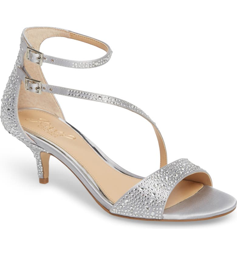 JEWEL BADGLEY MISCHKA Tangerine Crystal Embellished Sandal, Main, color, SILVER SATIN