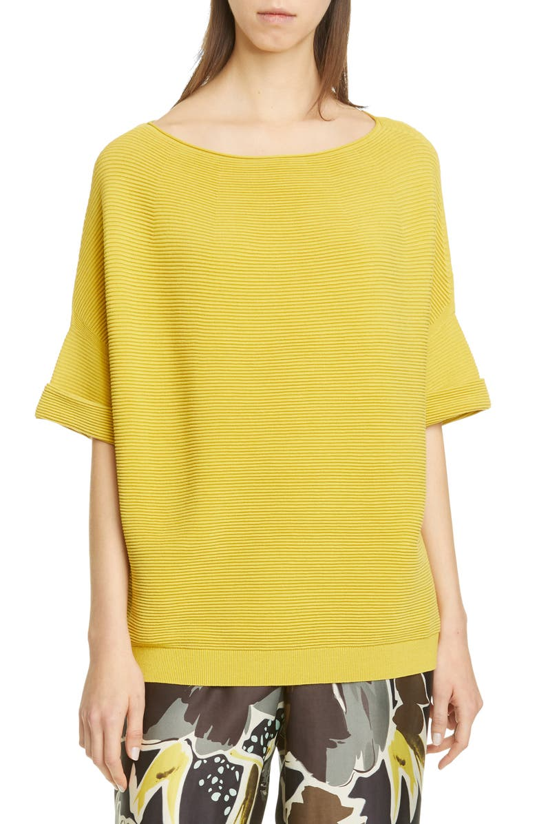 LAFAYETTE 148 NEW YORK Cuffed Ribbed Sweater, Main, color, QUINCE