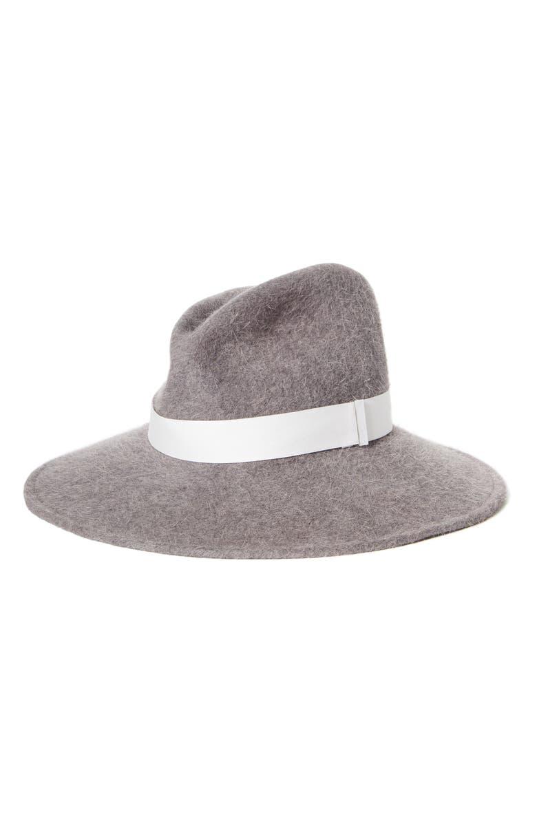 GIGI BURRIS MILLINERY Drake Rabbit Hair Felt Hat, Main, color, GREY SALOME