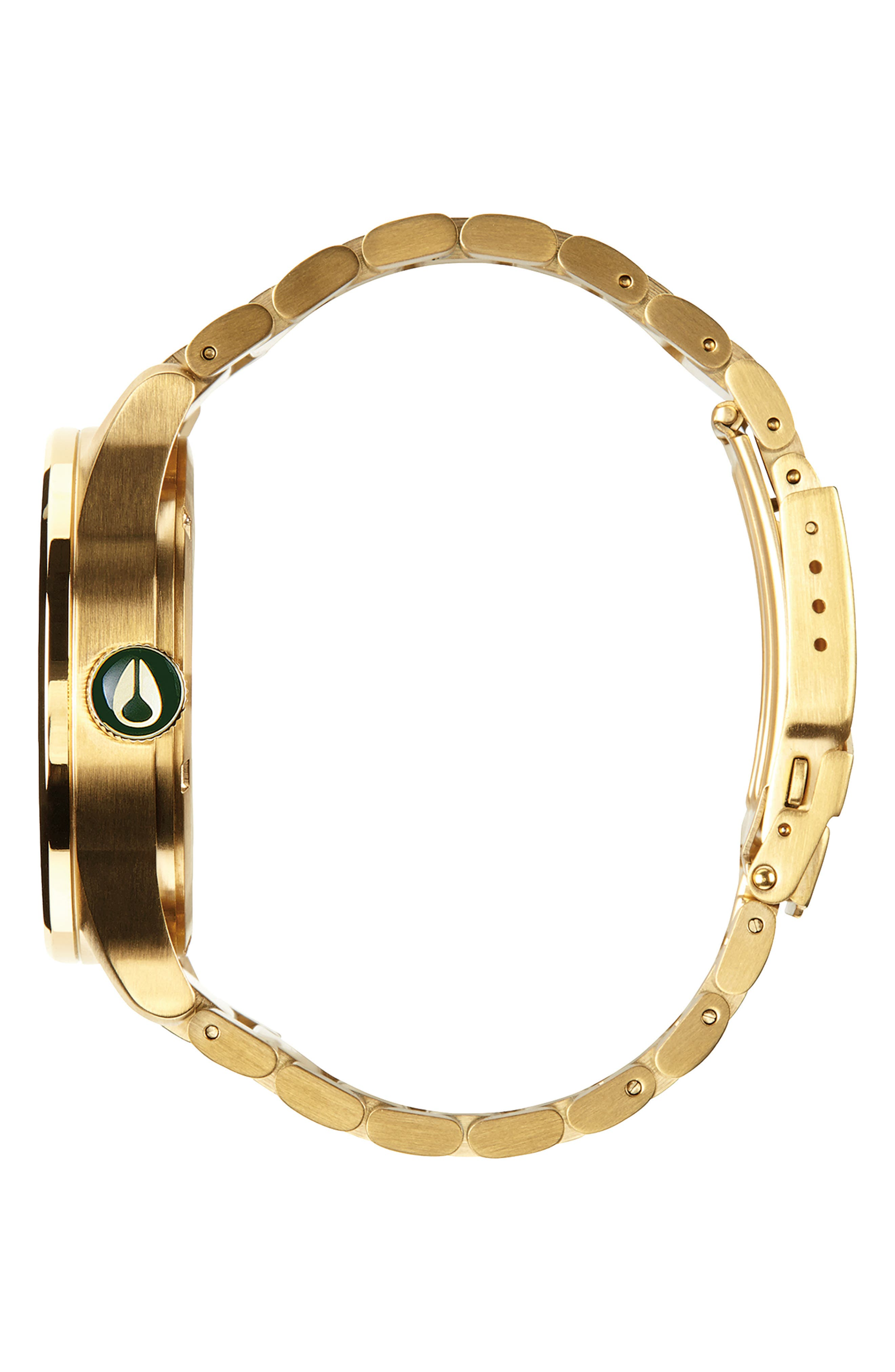 ,                             'The Sentry' Bracelet Watch, 42mm,                             Alternate thumbnail 3, color,                             GOLD/ GREEN/ GOLD